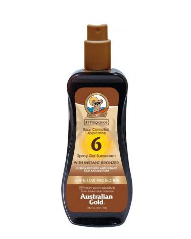 Australian Gold BRONZER Spray Gel Sunscreen SPF6 237ml